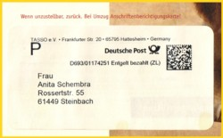 Digitalmarke mit Freimachung für Expresssendung international