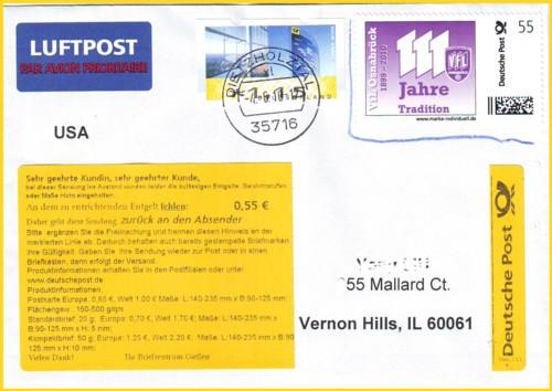 3 Briefe Mit Handyporto-marken Deutsche Post Gelaufen
