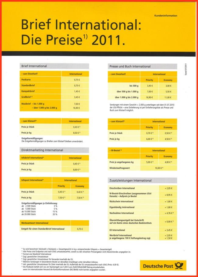 Post 2018 deutsche preise Briefmarken