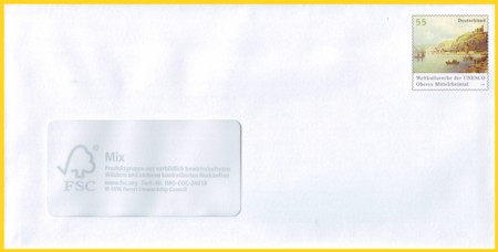 Plusbrief 55 Cent naßklebend Motiv Oberes Mittelrheintal
