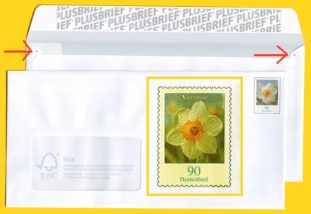 Plusbrief kompakt mit Fenster 90 Cent erstmals im Flexodruck + gelbes Raster um Bild und Passerkreuze