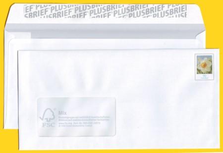 Plusbrief kompakt mit Fenster Flexodruck ohne gelbes Raster um Bild + andere Klappe hinten
