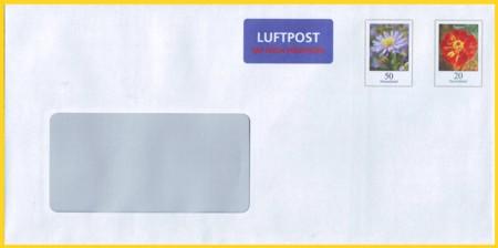 Plusbrief 70 Cent mit nachträglichen Aufdruck Luftpost